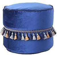 Kruk Oosterse poef Marroko fluweel met kwasten pompon blauw 45cm Ø