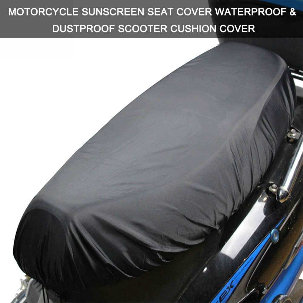 XL KKmoon Universal Motorcycle Sunscreen Seat Cover Cap Waterproof /& Dustproof Scooter Cushion Cover Seat Scooter Sun Pad Protector Black