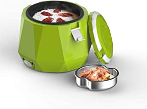 Multifunction Electric Lunch Box for 12V Car,Cooking For Soup Porridge and Rice, Cooking, Heating, Keeping warm Mini Travel Rice Cooker(Green)