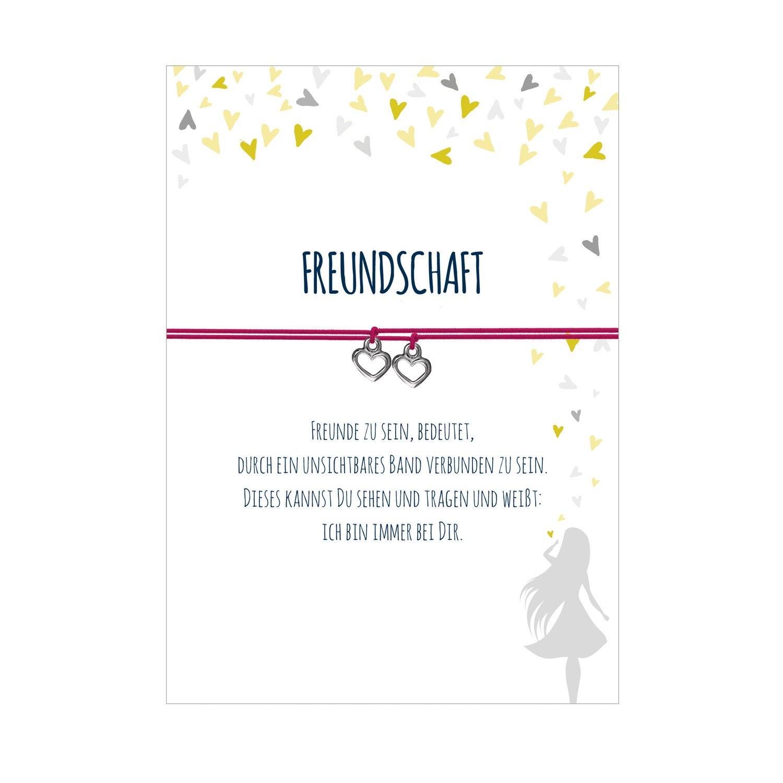 2 Armbänder im Set für 2 Freundinnen TIEFE FREUNDSCHAFT mit 2 Anhängern Herz, elastischem Textilband und liebevoller Karte:Freunde zu sein, bedeutet, durch ein unsichtbares Band verbunden zu sein. Glücksschmiedin 983240796