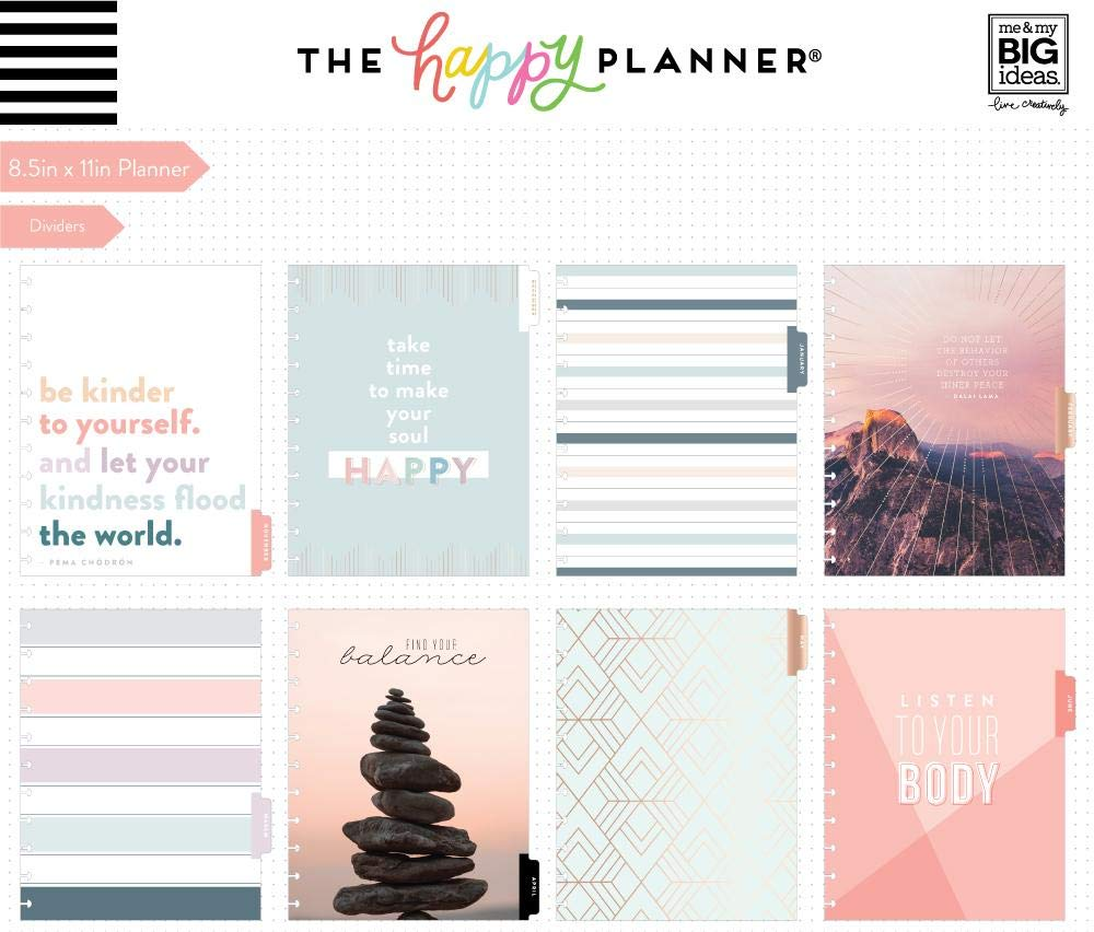Create 365 ; Big Happy Planner ; Wellness ;'' Just Breathe'' Dated 18 Months (July 2019-December 2020) ; Vertical Layout ; Weekly & Monthly Page layouts ; Size: 11.5'' x 10.25 by Create 365 (Image #4)