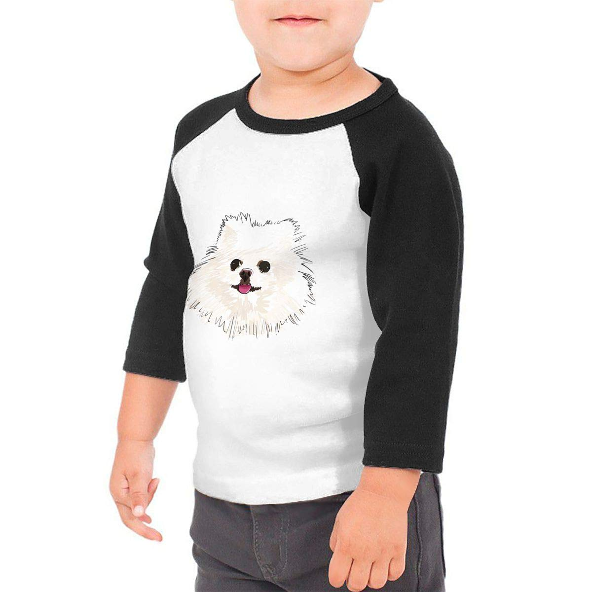 Kocvbng I White Pomeranian Painting Raglan 3//4 Sleeve Shirt for Girls Boy