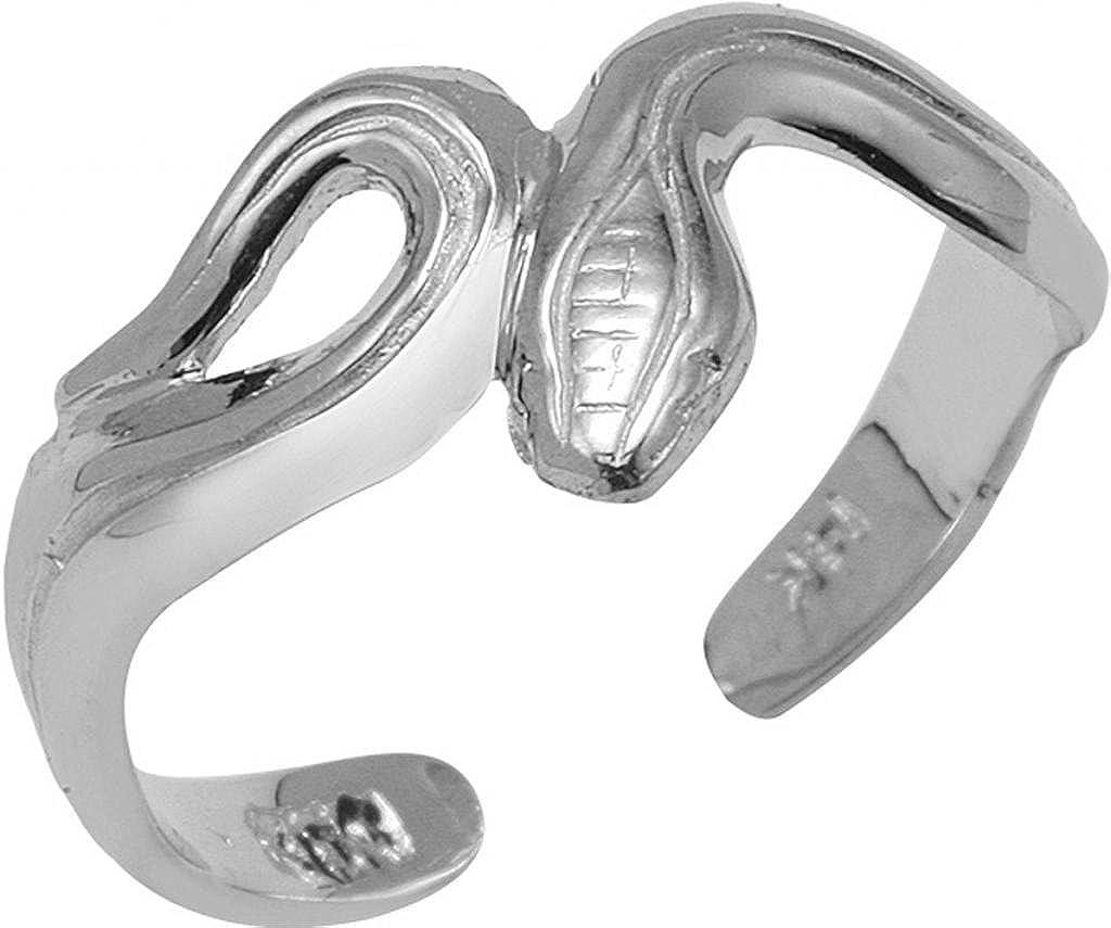 Fine 14k White Gold Infinity Snake Toe Ring Claddagh Gold SR4201WH