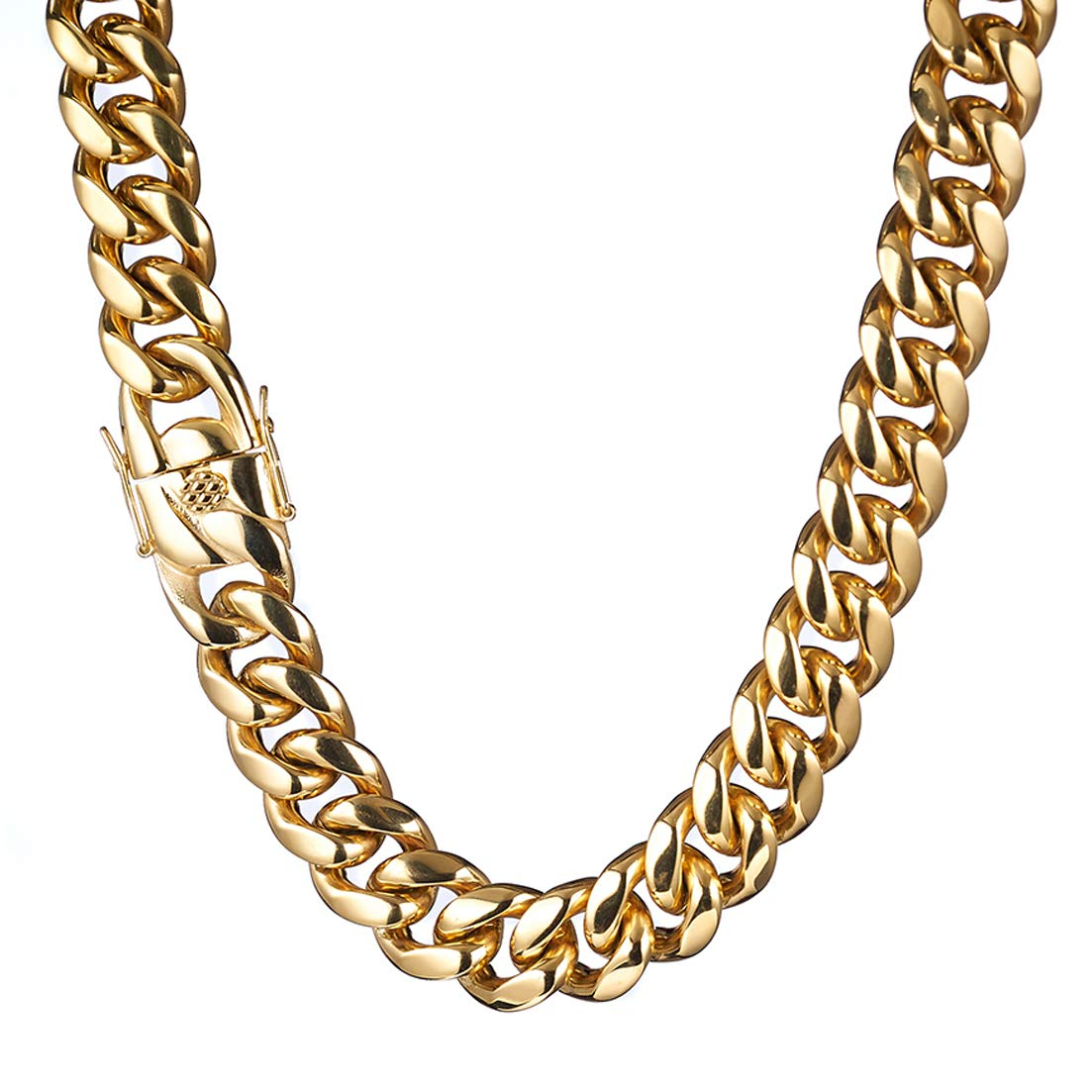 Fashion Mens Miami Cuban Link Chain 18K Gold Plated Stainless Steel Curb Choker Necklace 6mm-18mm Thick