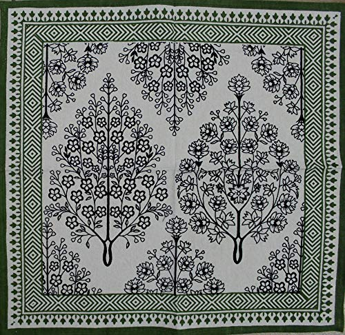 India Arts French Country Floral Print Napkin Square Cotton Table Linen Beach Sheet Beach Throw (Black Green, Napkin 18 x 18 inches)