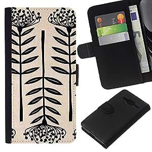 KingStore / Leather Etui en cuir / Samsung Galaxy Core Prime / Arte Flor Negro Blanco simplista;