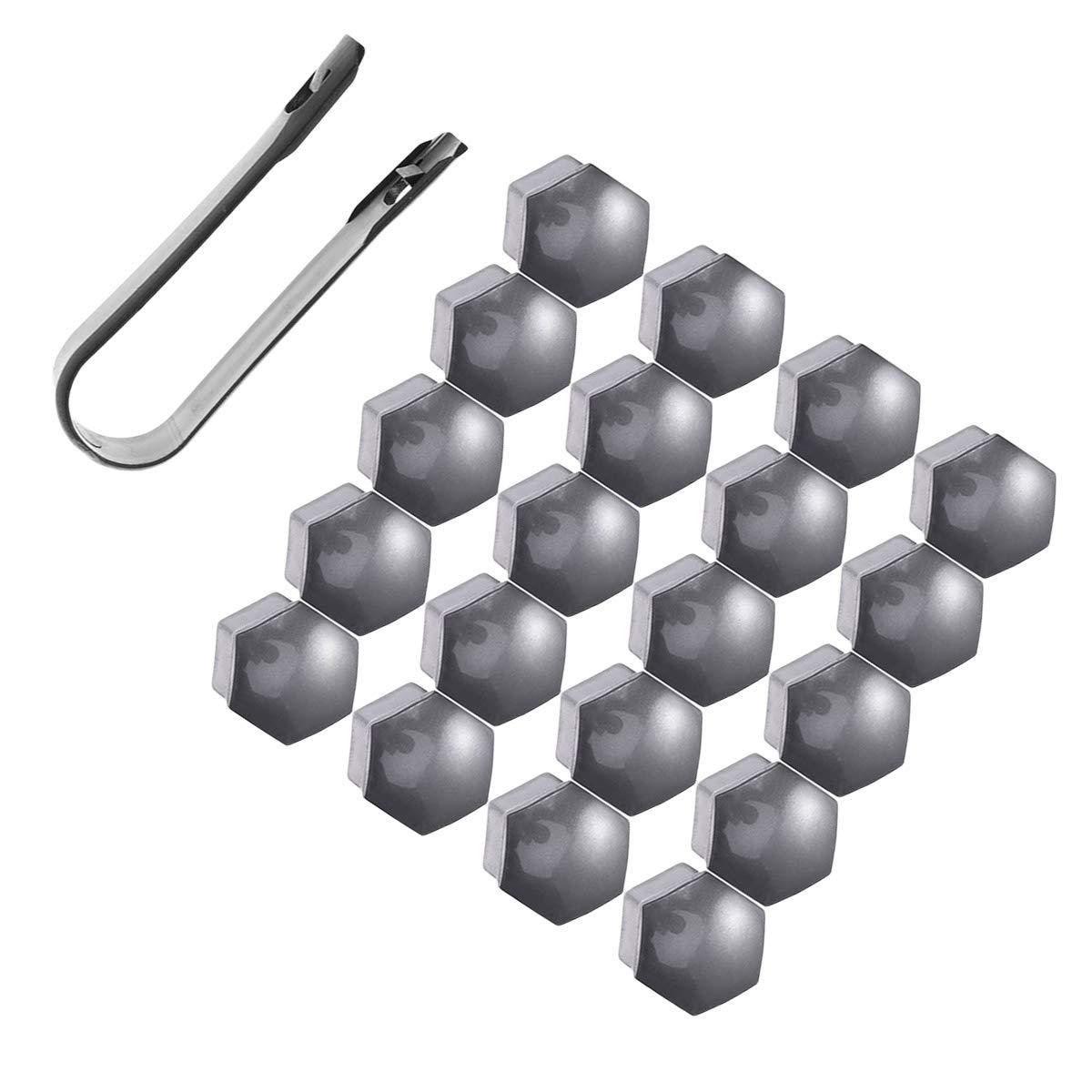 Grey Vosarea 21 in 1 20 Pieces Plastic Screw Caps for Tyres 21 mm with 1 Piece Clip