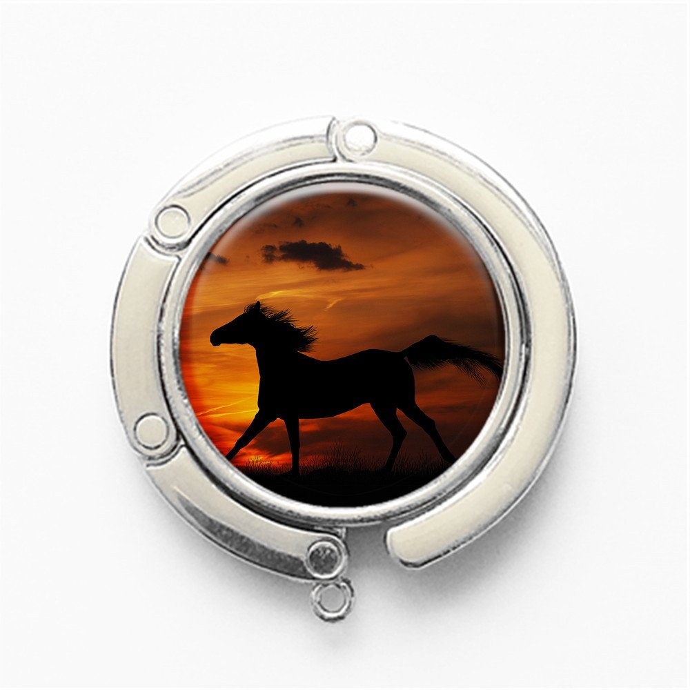 FS74 RhyNSky Animal Horse Round Folding Handbag Hook Purse Hanger Holder for Table Silvery