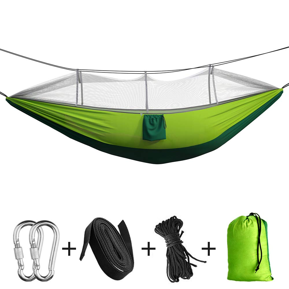 2 Hanging Straps Backyard Lightweight Nylon Parachute Hammocks For Backpacking Hiking Double Single Indoor Outdoor Tree Hammock With Bug Insect Net Travel Portable Camping Hammock Beach