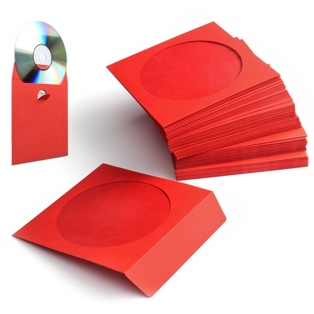 Flexzion 100 Pack CD DVD Thick Paper Sleeves (Red) Standard Envelope Cases Display Storage Premium with Window Cut Out and Flap for Music Movie Video Game Disc