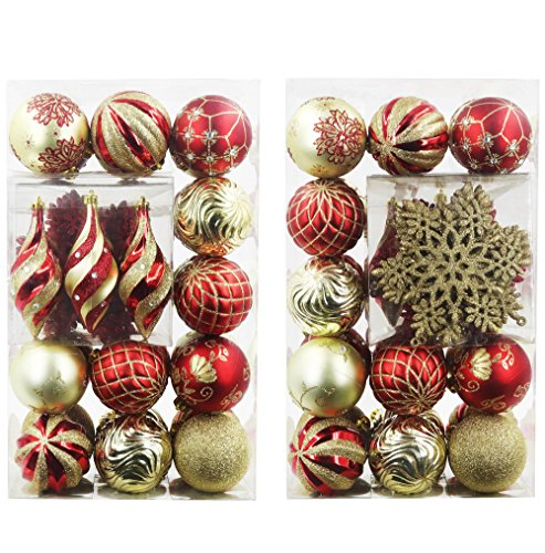 Valery Madelyn 40ct Luxury Collection Red and Gold Shatterproof Christmas Ball Ornaments,40 Metal Hooks (Christmas Ornament Sets)