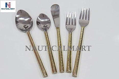 Amazon.com: Juego de cubiertos de acero inoxidable, diseño ...
