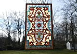 Tiffany Style Jeweled Beveled Stained Glass Window Panel. 20.5''W X 34.75''H