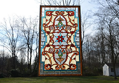 Tiffany Style Jeweled Beveled Stained Glass Window Panel. 20.5''W X 34.75''H by Stain Glass Panel