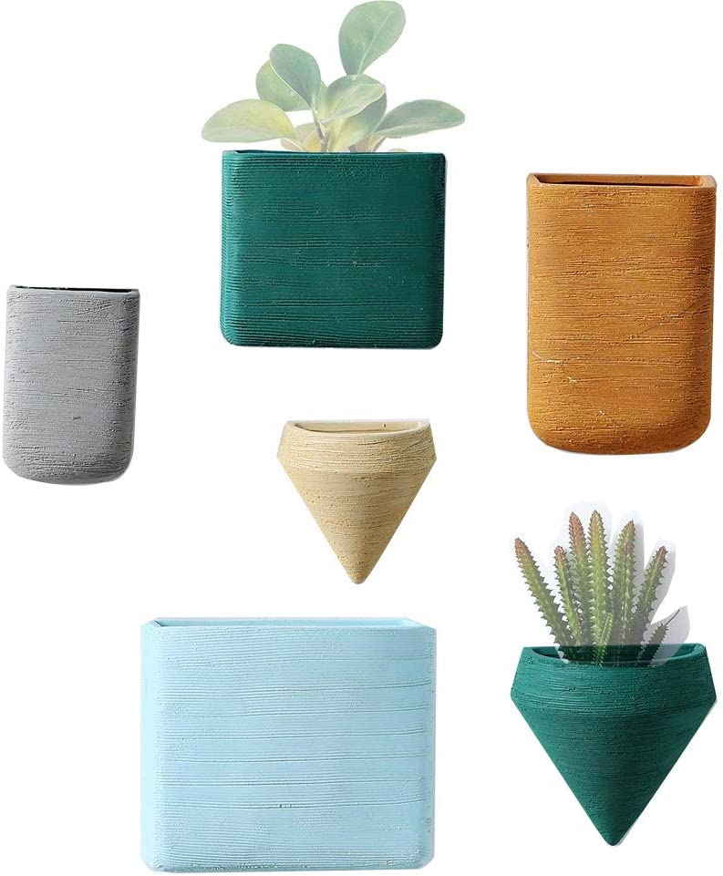 Wall Decor Planters 6 Set Morandi Color Ceramic Hanging Geometric Wall Decor Container - Great Succulent Plants, Air Plant, Faux Plants