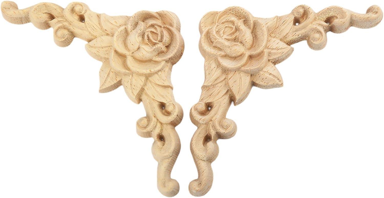 MUXSAM 1pc 8 8cm Vintage Bois Sculpt/é en Coin Applique en Bois de Ch/êne Sculpt/é D/écalque pour la D/écoration