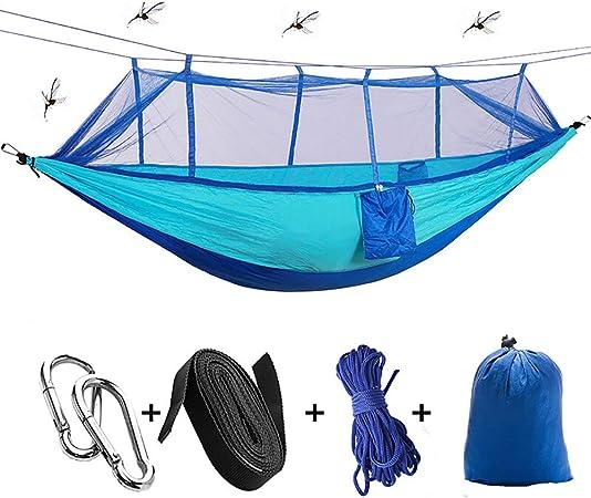 QJJML Double Camping Hammock,Funda Hamaca Jardin,Hamaca Doble, Hamaca para Acampar con mosquitero, Hamaca para Viajes al Aire Libre, portátil, de Alta Intensidad, para Actividades al Aire Libre,B: Amazon.es: Hogar