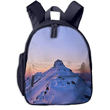IGYoh Snowy Mountain Peak with Sunrise Glow Children Lightweight Nylon  School Bag Kids Travel Backpacks Navy 1683b8397e