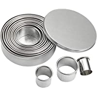 JY 12 PCS Round Cookie Biscuit Cutter Set, Stainless Steel Cookie Cutter Set, Pastry Cutters in Graduated Sizes for…