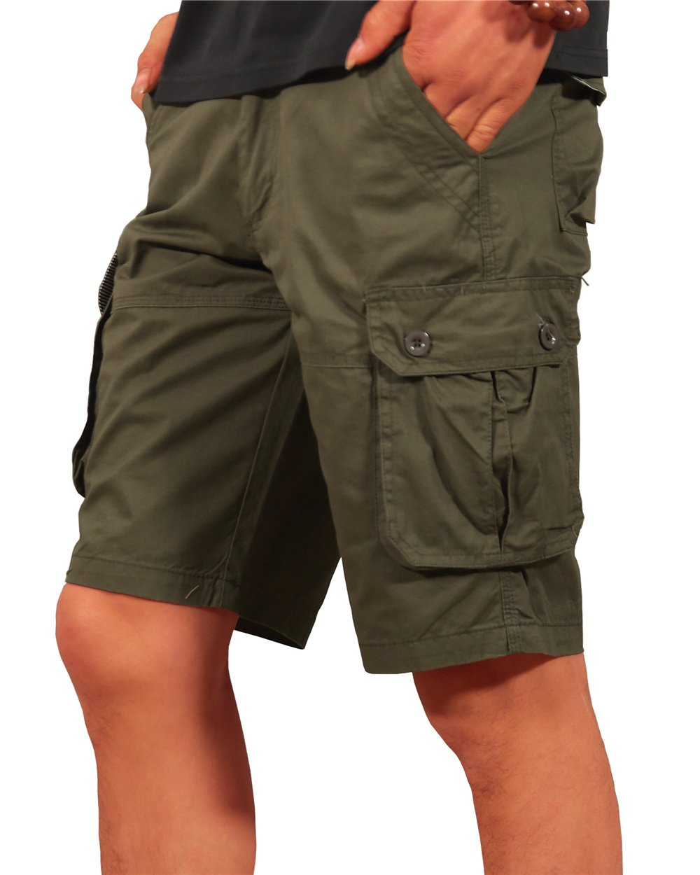 MAKEIIT Mens Baggy Cargo Shorts Uniform Cargo Shorts Ripstop Cargo Shorts with Multi-Pocket