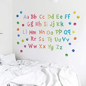 Eutecado Alphabet Wall Decals, Colorful ABC Posters Educational Alphabet Wall Stickers, Watercolor Spot Dot Art Murals for Kids Bedroom Nursery Classroom