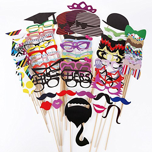Photo Booth Props, MoYag 76 Pcs DIY Kit Dress Up Props for Wedding/Birthday/Hen Party Night Games/ Birthday Party/ Family Reunion/Dress-up Costume Accessories