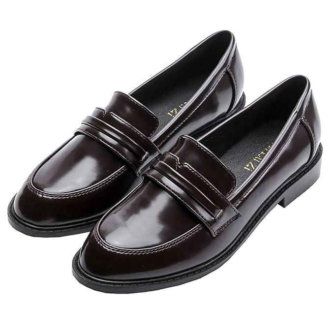 RegbKing Mujer Plano Zapatos Tacón Bajo Para Mujer Zapatos Mocasines Señoras Mocasín Zapatos De Trabajo Confort Zapatos Retro De Charol: Amazon.es: Ropa y ...