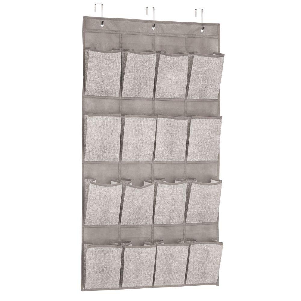 Perchero de puerta para art/ículos de beb/é Color: gris Pr/áctico organizador colgante con 16 bolsillos mDesign Juego de 2 armarios de tela para colgar