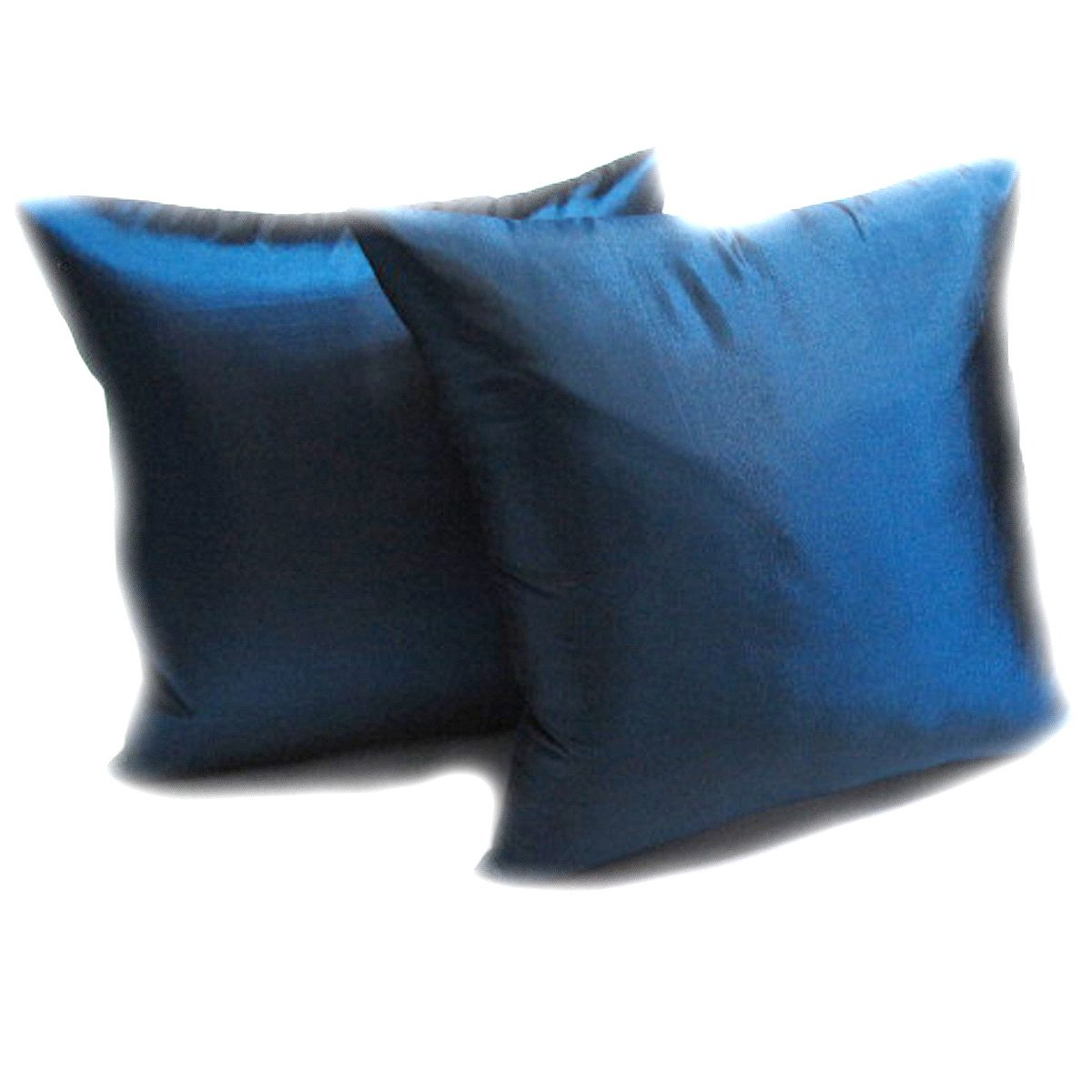 Thaimart (Dauble) 2 Beautiful Blue Throw Cushion Cover/pillow Case Handmade By Satin and Thai Silk for Decorative Sofa, Car and Living Room Size 16 X 16 Inches