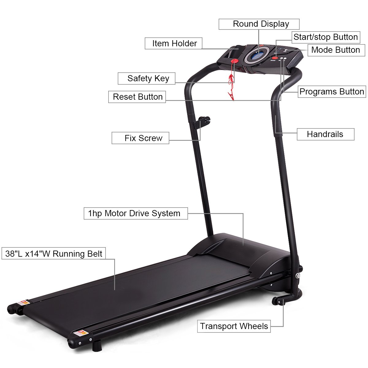 GYMAX Folding Electric Portable Treadmill Low Noise Jogging Walking Running Machine Exercise Treadmill w/Safety Key by GYMAX (Image #5)