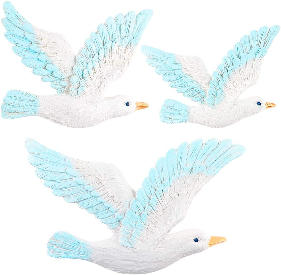 MDLUU 3 Pcs Seagull Wall Art, Seagull Wall Hanging Decor, Seagull Wall Plaques for Beach Theme Bedroom, Coastal Theme Living Room Decor
