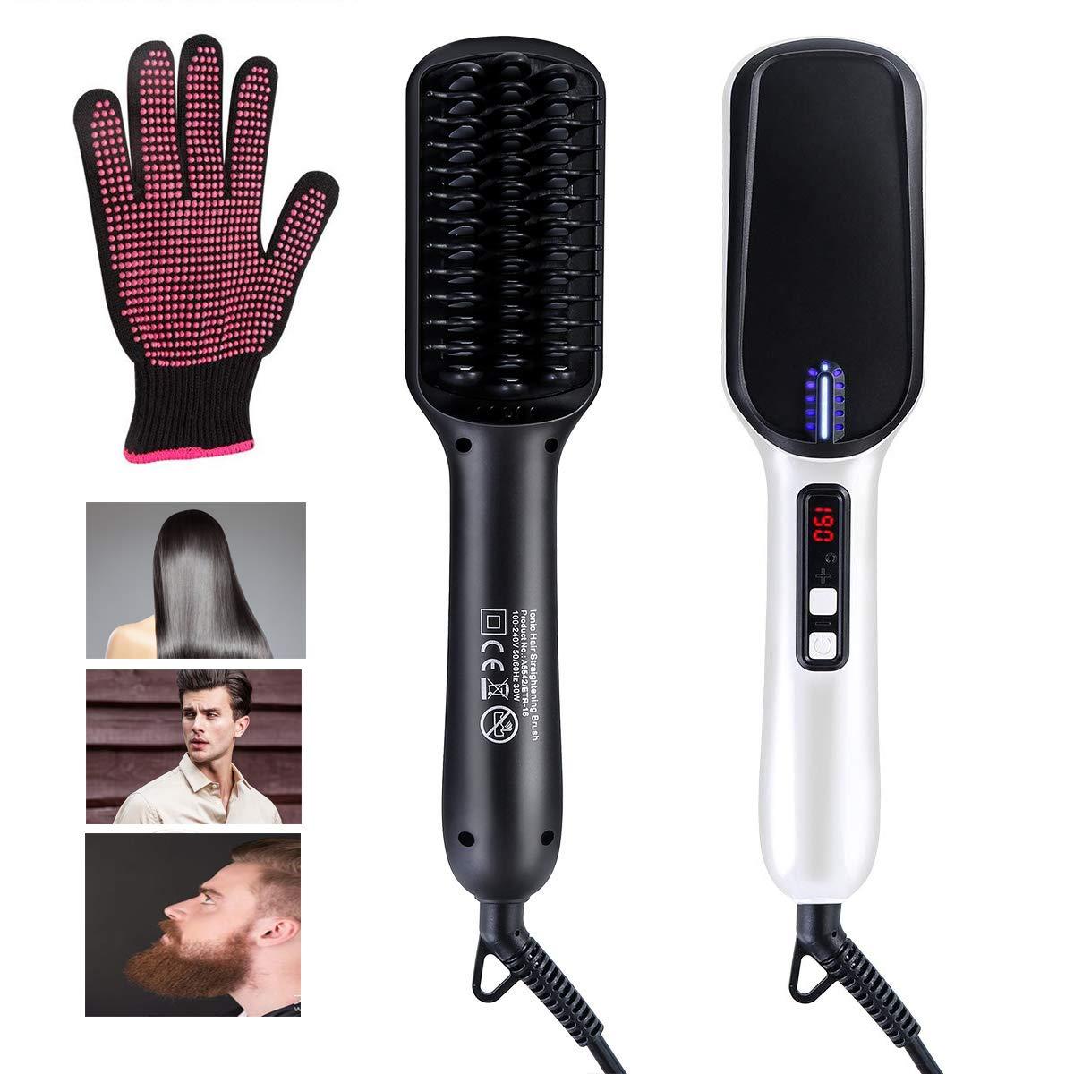Beard Straightener Hair Straightener Brush -VIPpro Hair Straightening Comb,Auto Temperature Lock,Negative ions Anti,Professional Hair Straightening Brush for Women and Men, For Home and Travel