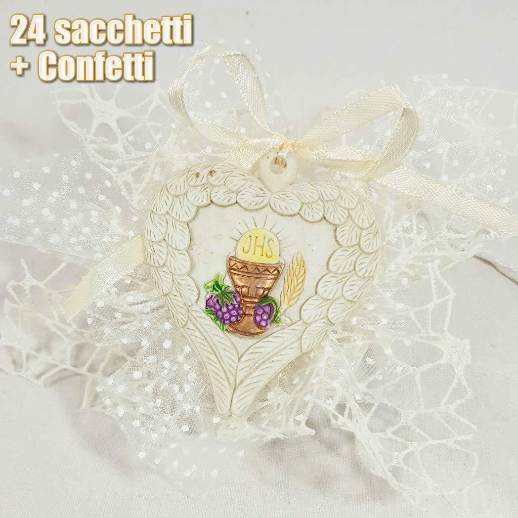Sindy Armario bomboniere 24alas de ángel con Forma de Corazón Perchero símbolo Sagrado Primera comunión con peladillas