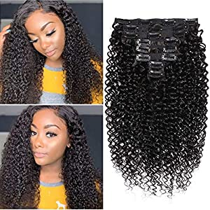Clearance Remy Clip In Hair Extensions Human Hair Kinky Curly 4c Clip In Hair Extensions For Black Women 120g (4.32oz…