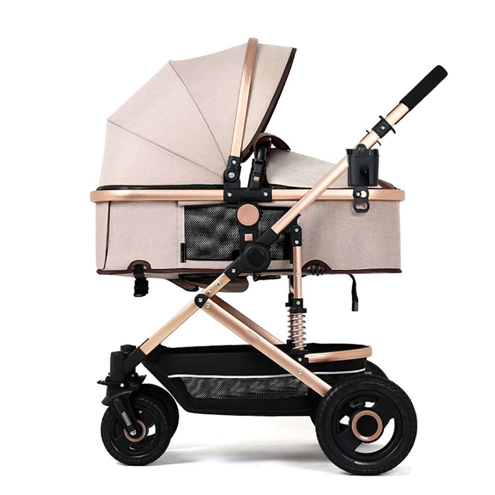 Xinjin Baby Cart High Landscape Light Can Sit and Lie Down Fold Suspension Four Rounds Baby Baby Carriage Trolley Baby Cot by Baby strollers
