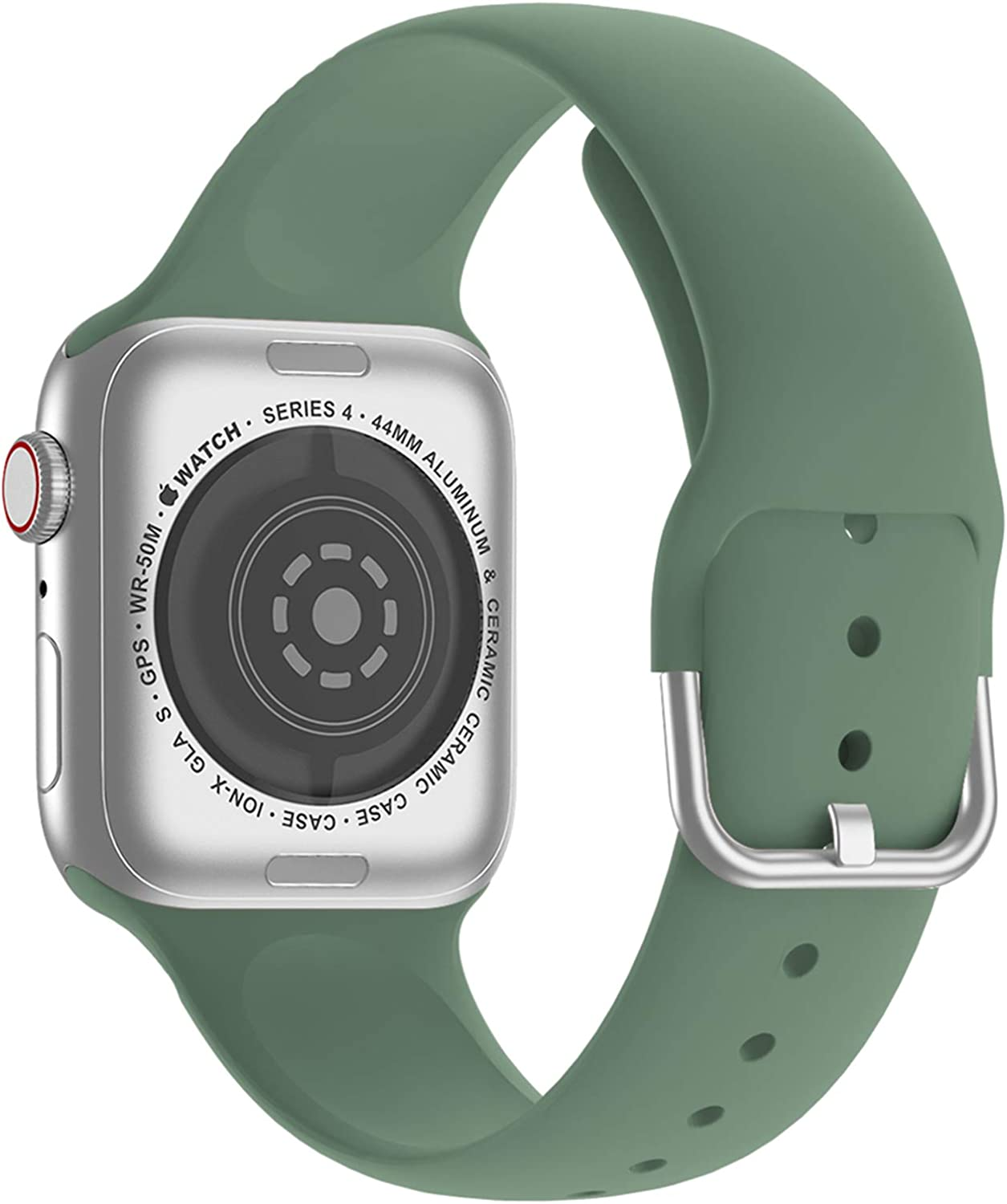 Doasuwish Compatible with Apple Watch Bands 38mm 40mm Series 3 Series 5, Silicone Soft Sport iWatch Bands 38mm 40mm Womens Compatible for iWatch Apple Watch SE Series 6 5 4 3 2 1, Pine Green