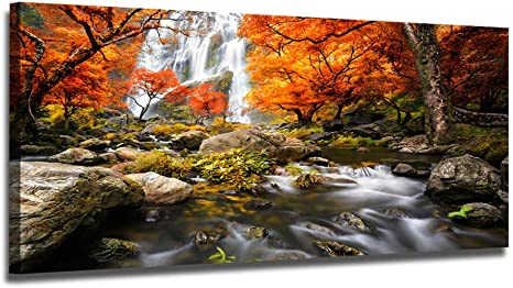 Amazon Com Ardemy Canvas Wall Art Prints Waterfall Nature Scenery Painting Prints Modern Artwork Extra Large Framed Landscape Pictures Ready To Hang For Living Room Bedroom Home Office Decor One Panel 60 X30 Everything