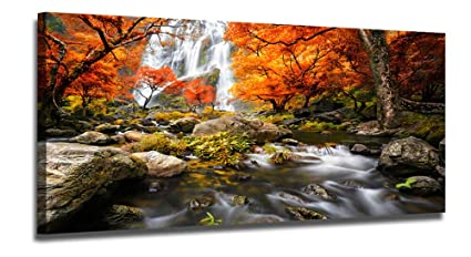 Ardemy Canvas Wall Art Waterfall Nature Scenery Painting Prints Vintage One Panel Long Artwork Wooden Framed Stunning Pictures Ready To Hang For