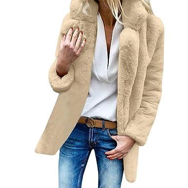 816a2d018a75 Creazrise Winter Faux Fur Coat for Women Long Sleeve Lapel Warm Outwear  Cardigan Overcoat Jacket Outfit