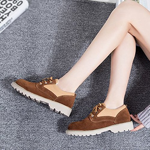 Toe Shoes Shoes Lace Brown Mubuck Comfortable JULY up Classic Low T Round Women's Oxfords Wedge PYpZOI