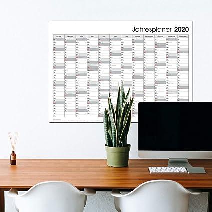 Calendario 2020, póster, gris, DIN A1, planificador anual, calendario de pared 2020, plegado: Amazon.es: Oficina y papelería