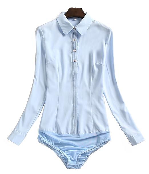 ZAMME Body de Gasa de Mujer Camisas Formales Blusas de Cuerpo Blusas