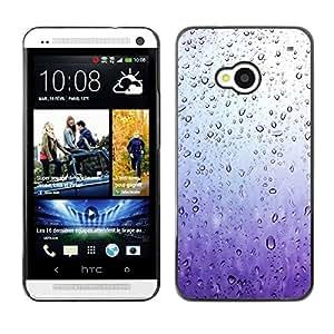 Caucho caso de Shell duro de la cubierta de accesorios de protección BY RAYDREAMMM - HTC One M7 - Purple Glass Raindrops Water Sad Spring