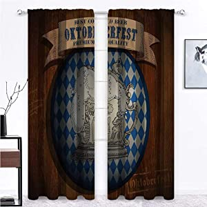 GugeABC Window Curtains Oktoberfest for Boy Girl Bedroom Best Cold Beer Vintage 108 x 72 Inch (2 Panels)