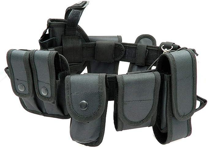 Color Negro para Entrenamiento al Aire Libre LIXIAQ1 Cintur/ón t/áctico de Seguridad para Equipo de polic/ía con Sistema de Bolsas