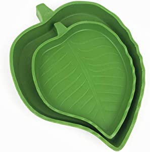 N//A Reptile Bowl Food Water Dish Plate,for Corn Snakes Tortoise Drinking and Eating,One Large One Small 2 Pack Leaves Shaped