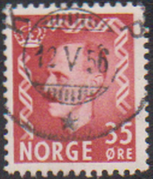 Haakon VII King Of Norway 1905 1957 35 Ore Cancelled Postage Stamp