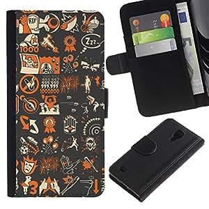 YiPhone /// Tirón de la caja Cartera de cuero con ranuras para tarjetas - Patrón del arte pop Gaming Resumen Tf B0Rderland - Samsung Galaxy S4 IV I9500