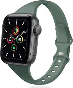 DYKEISS Sport Slim Silicone Band Compatible for Apple Watch Band 38mm 42mm 40mm 44mm, Thin Soft Narrow Replacement Strap Wristband for iWatch Series 5/4/3/2/1 Women & Men (Pine Green, 42mm/44mm)