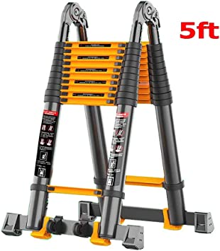 Escaleras Telescópicas Multifunción Escalera de extensión telescópica de aluminio de 5 pies, escalera extensible plegable multiusos DIY Loft de 1,5 m con rueda, capacidad de 330 libras: Amazon.es: Bricolaje y herramientas